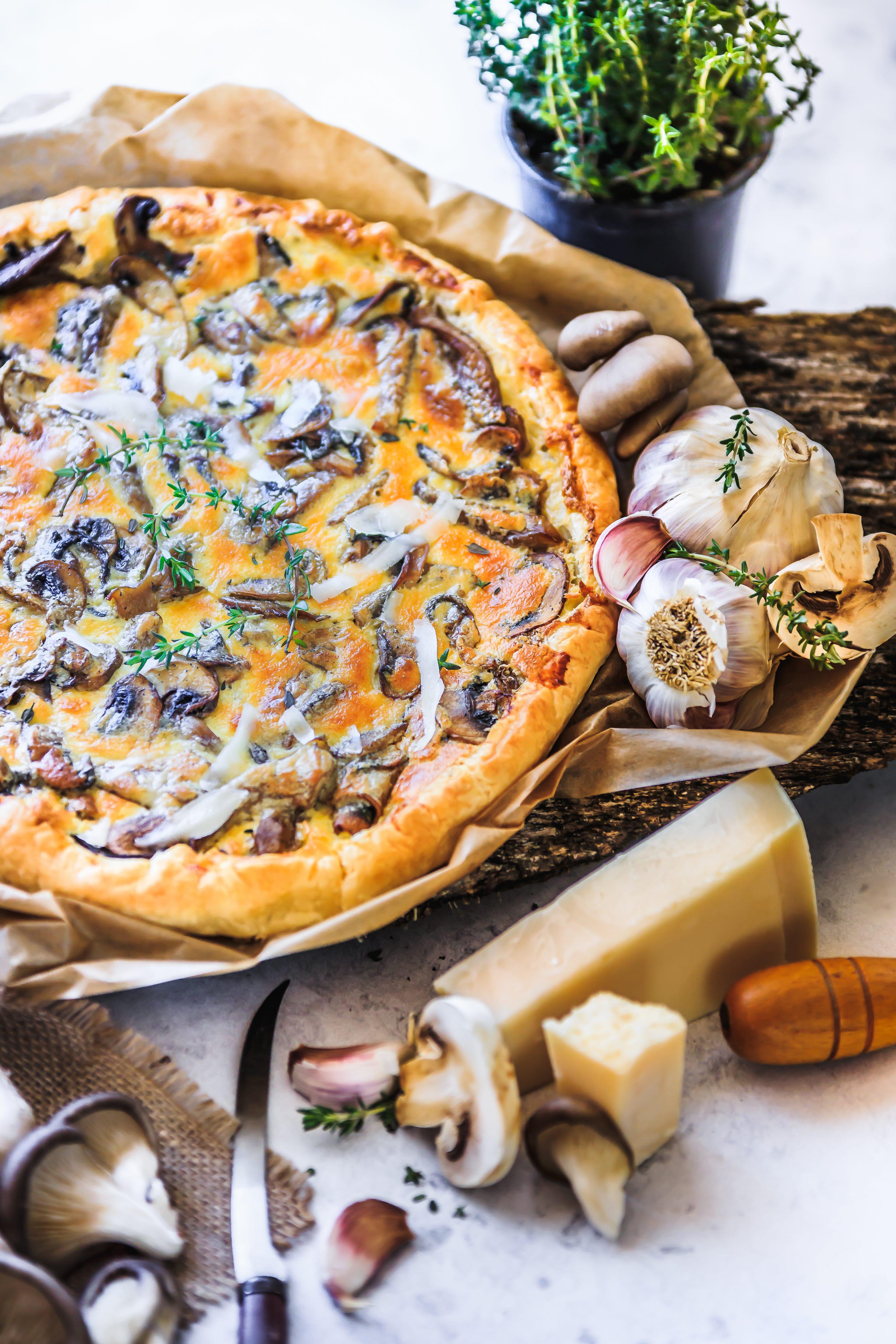 Recette de Quiches aux champignons  thym et parmesan.