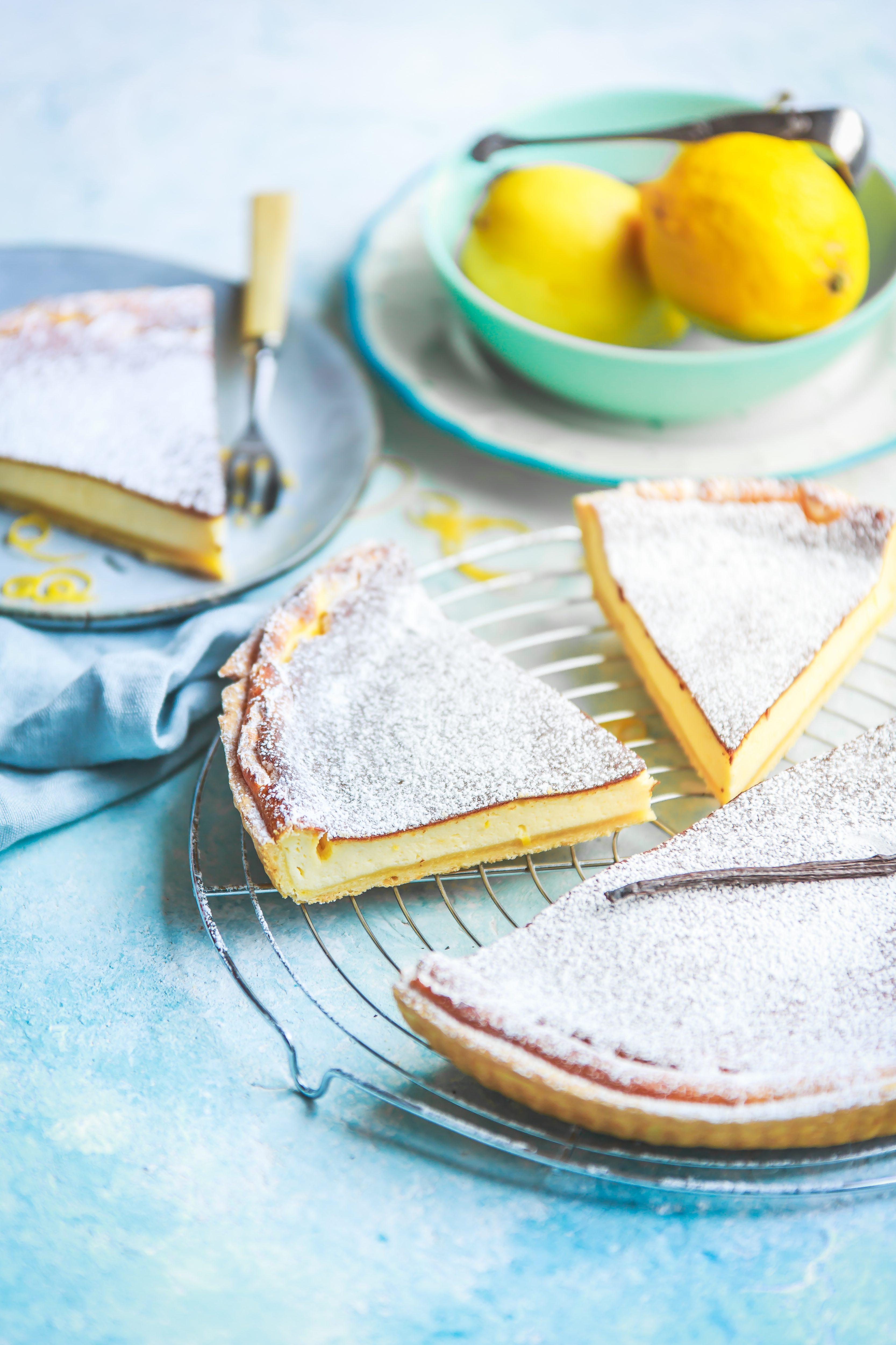Recette de la tarte au fromage blanc. Photographe et styliste culinaire.