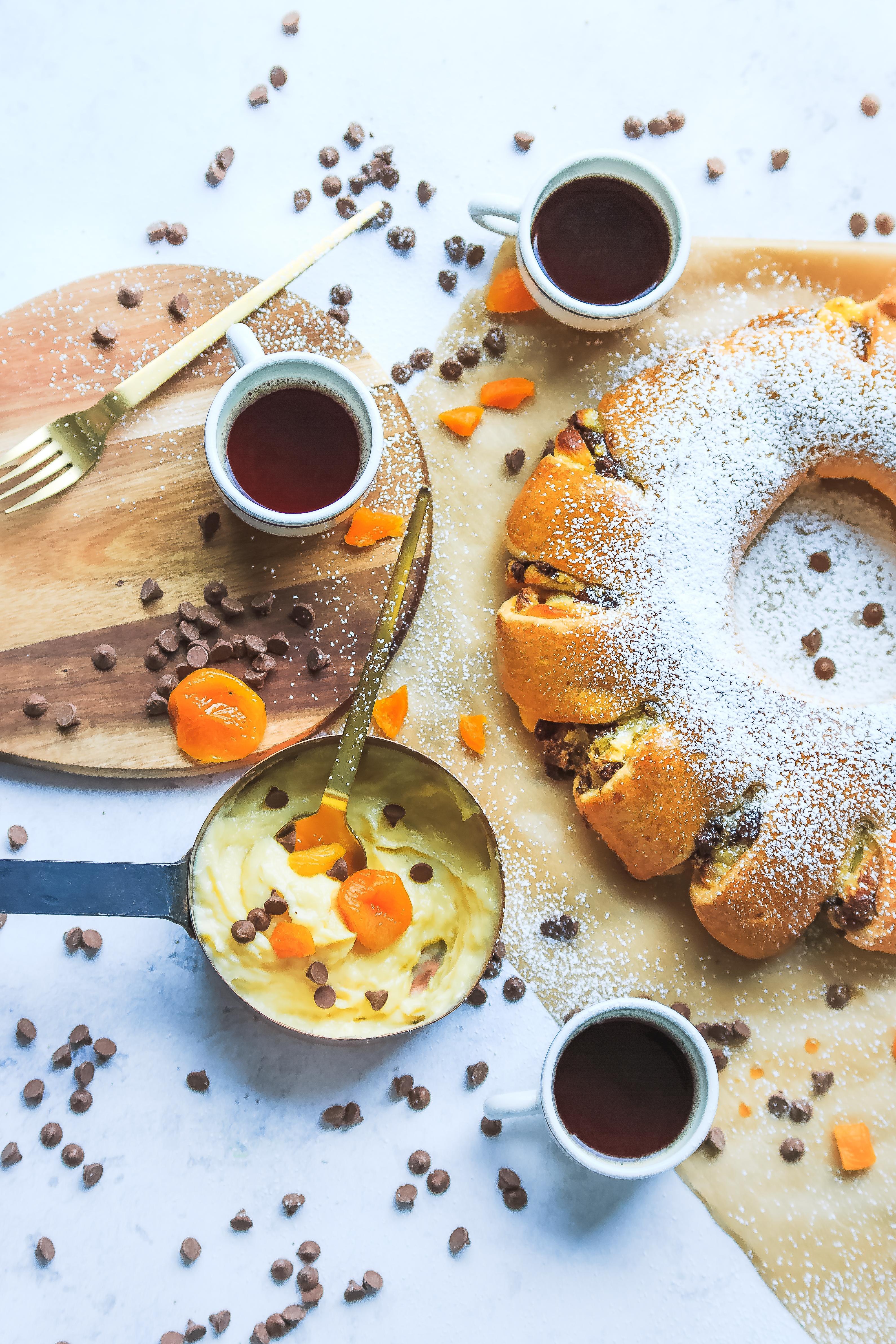 Recette Brioche Couronne à l'abricot et chocolat