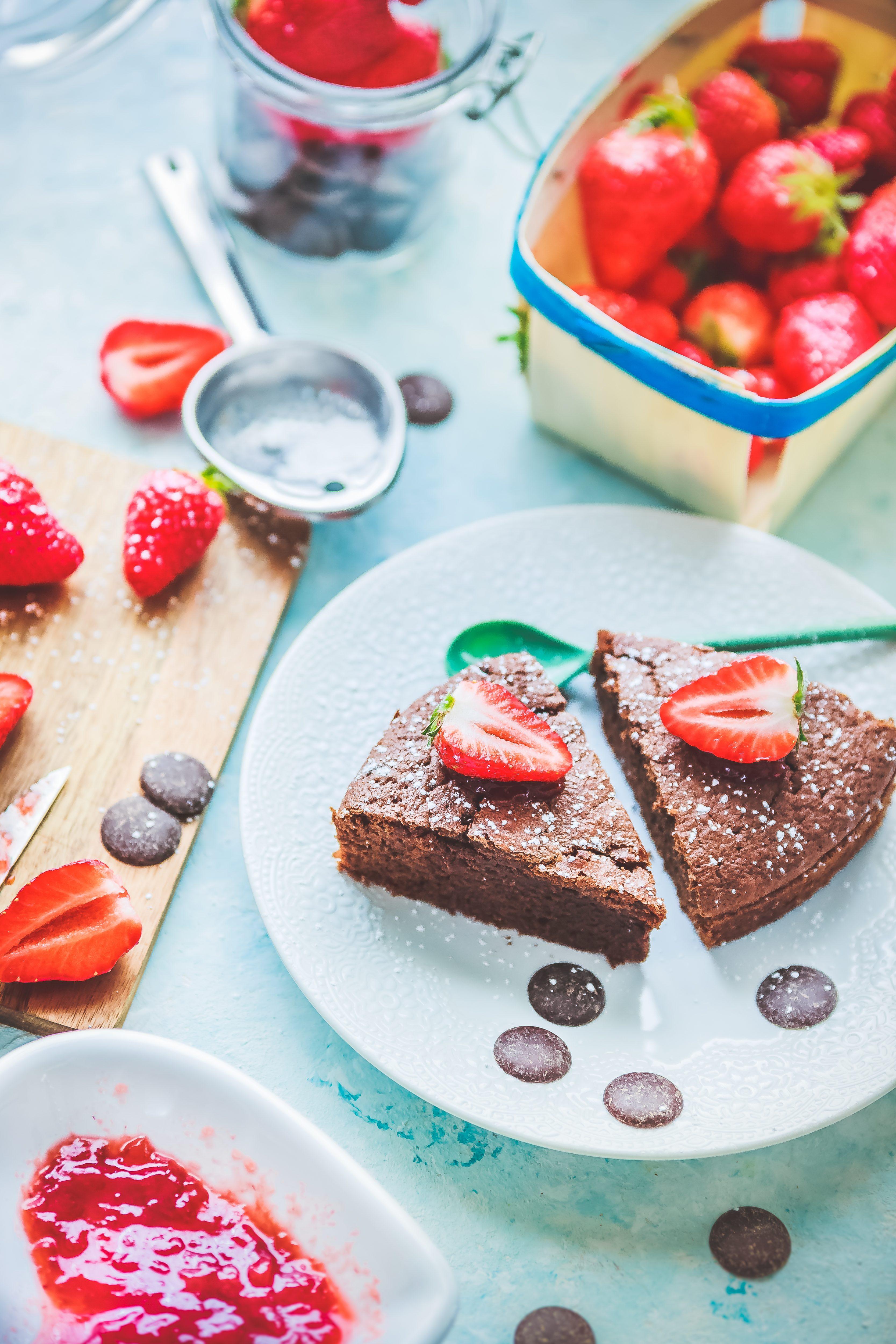 Recette Gâteau chocolat à la confiture de fraises.