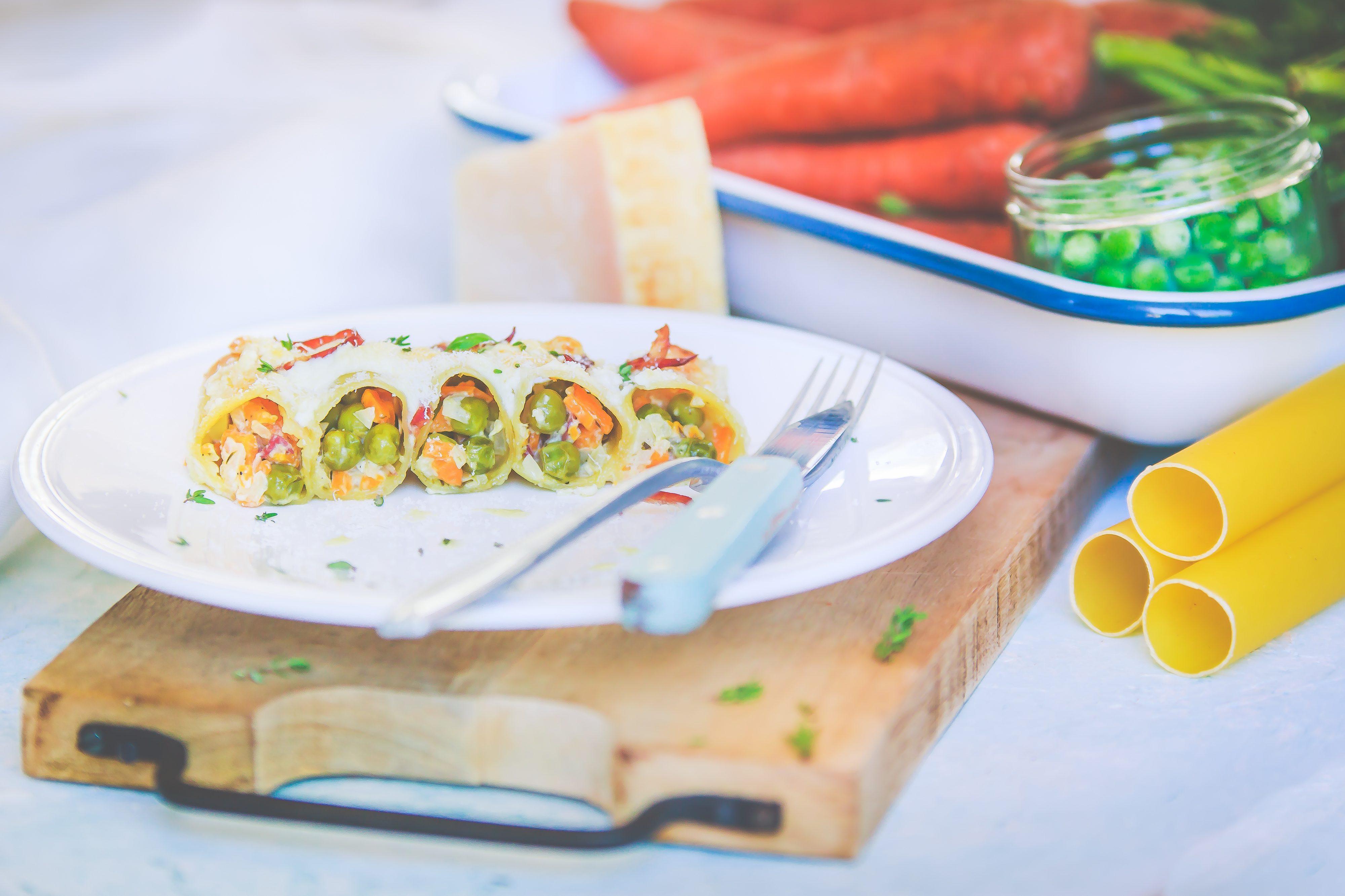 Recettes Cannellonis à la coppa et petits pois carottes