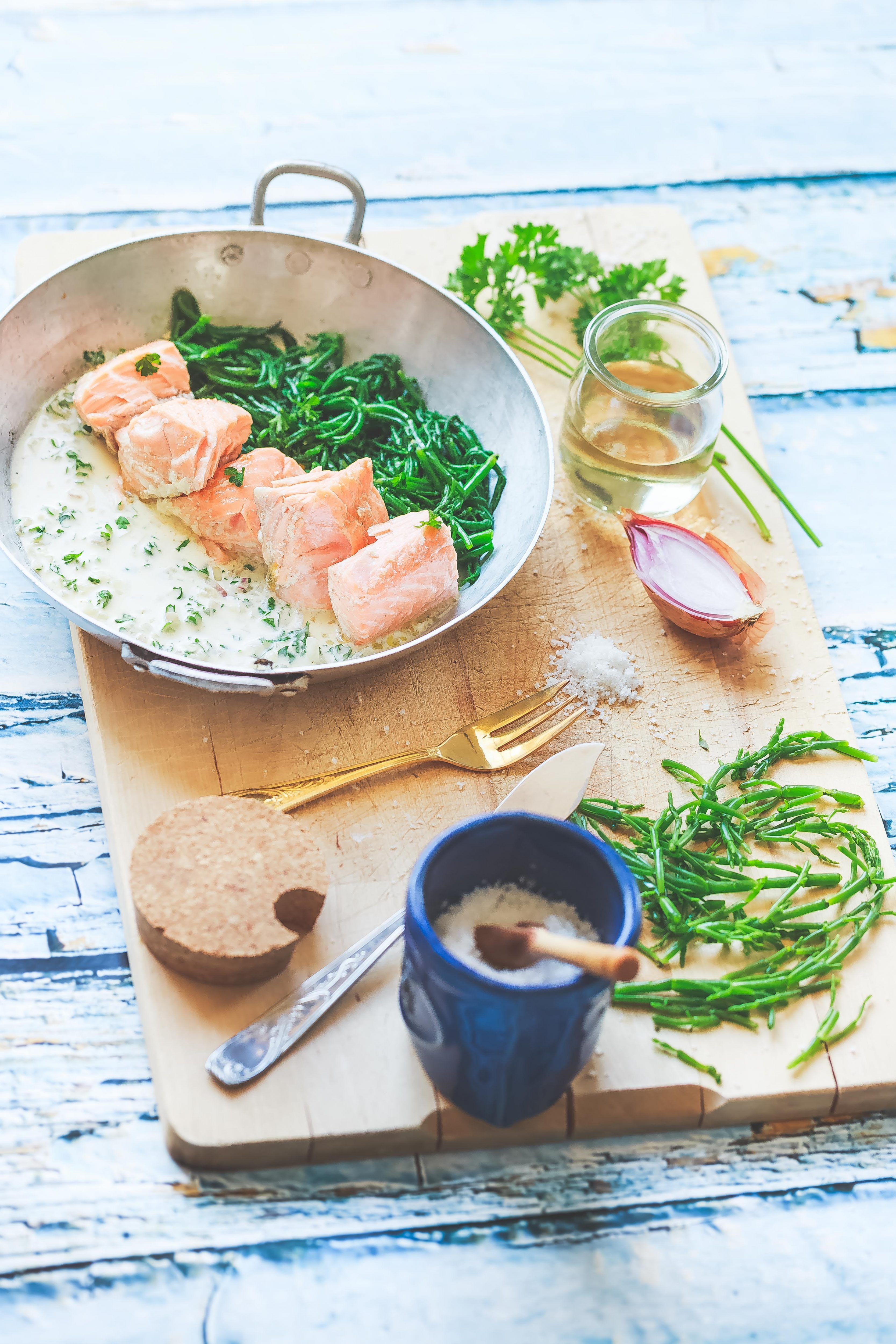 Recette Saumon marinière et salicornes